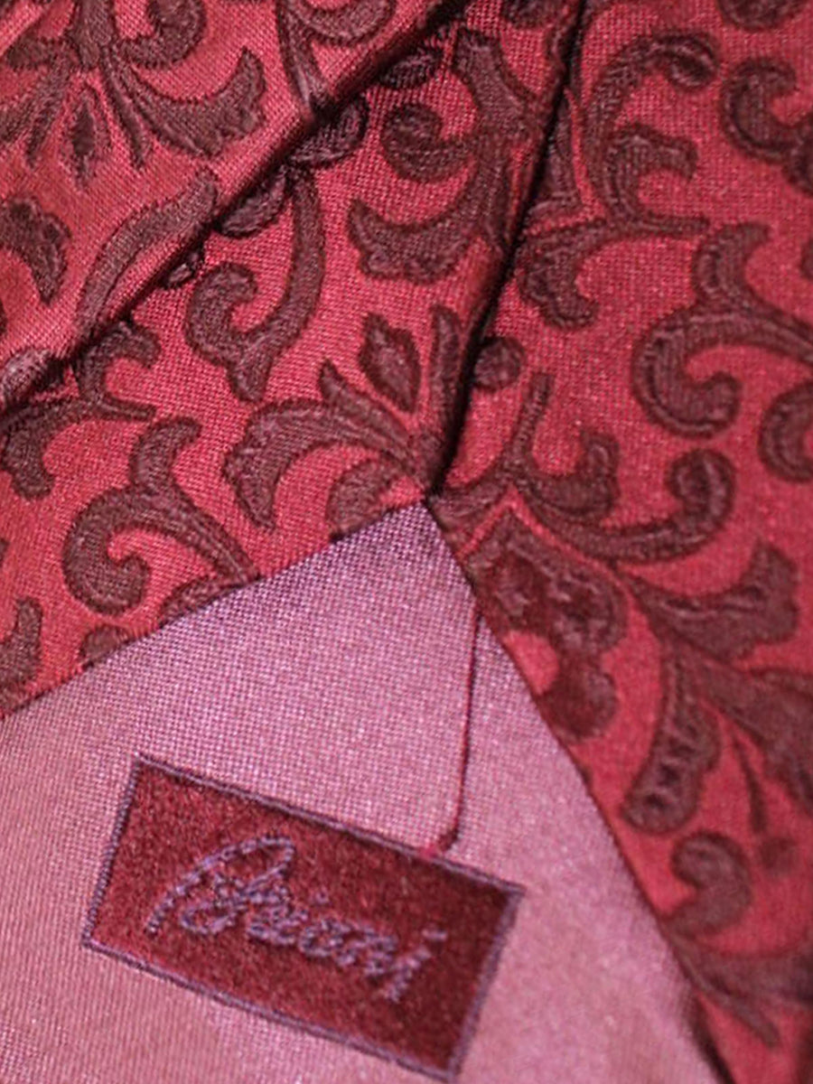 Brioni Tie & Matching Pocket Square Set Maroon Ornamental