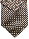 Brioni Tie & Matching Pocket Square Set Brown Silver Blue Paisley