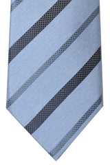 Brioni Tie Sky Blue Silver Black Stripes - New Collection