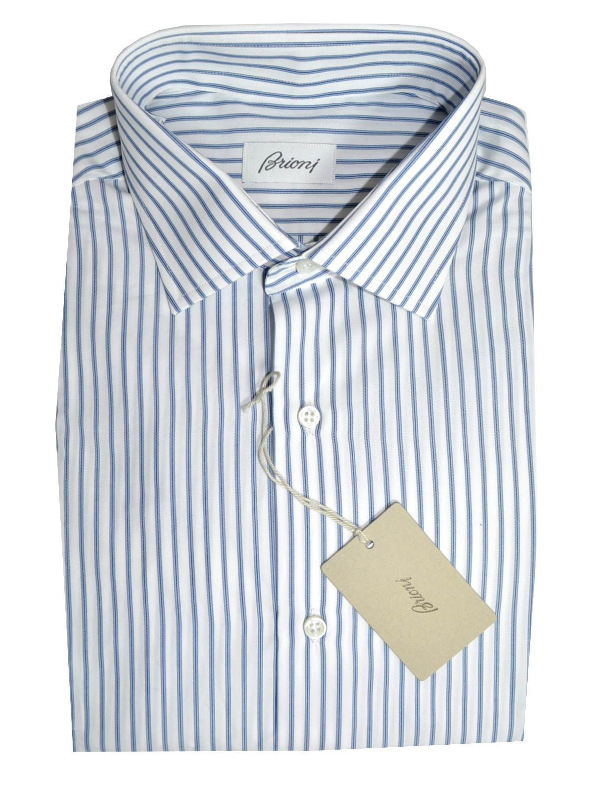 5ac1350f985ca4 Brioni Dress Shirt White Navy Blue Stripes Slim Fit 40 - 15 3/4 SALE ...