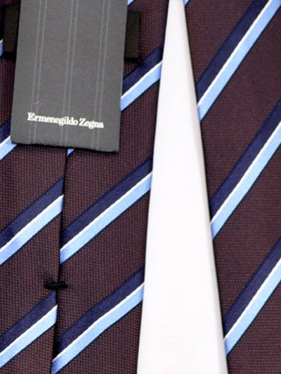 Ermenegildo Zegna Tie Brown Navy White Stripes SALE