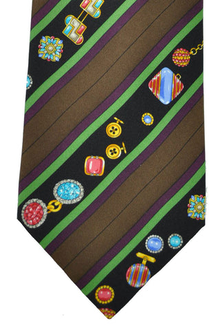Leonard Tie Brown Black Jewels Stripes FINAL SALE