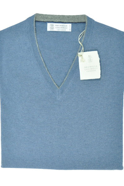 Brunello Cucinelli Cashmere V-Neck Sweater Blue