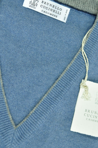 Brunello Cucinelli Cashmere V-Neck Sweater Blue - EUR 46 / US 36 FINAL SALE