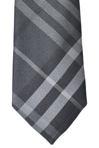 Burberry Tie Nova Check Plaid Charcoal Gray Rohan
