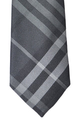 Burberry Tie Nova Check Plaid Charcoal Gray Beat