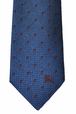 Burberry Tie Dark Mineral Blue Brown Dots SALE