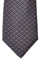 Burberry Tie Gray Brown Cream Geometric - Wide Necktie