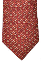 Burberry Tie Maroon Brown Cream Geometric - Wide Necktie