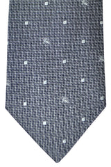 Burberry Tie Gray Silver Dots - Wide Necktie