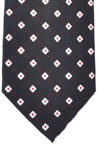 Burberry Tie Black Red Silver Geometric - Wide Necktie SALE
