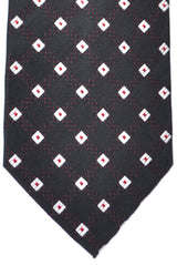 Burberry Tie Black Red Silver Geometric - Wide Necktie