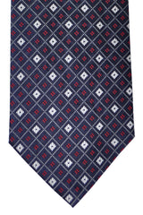 Burberry Tie Dark Navy Red Silver Geometric - Wide Necktie