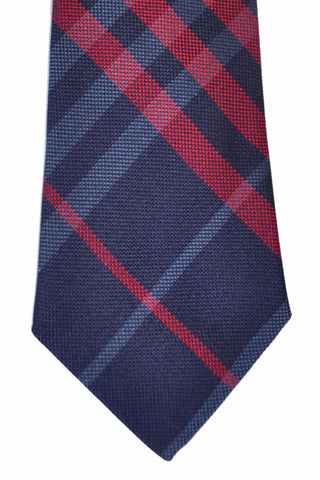 Burberry Tie Manston Check Navy Burgundy - Modern Cut