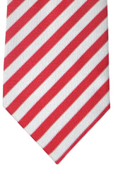 Burberry Tie Silver Red Stripes - Wide Necktie
