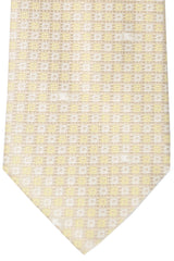 Burberry Tie Yellow Cream Silver Geometric - Wide Necktie
