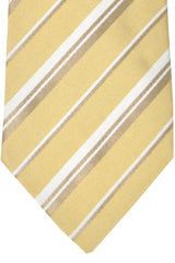 Burberry Tie Yellow-Gold White Stripes Cotton Silk - Wide Necktie