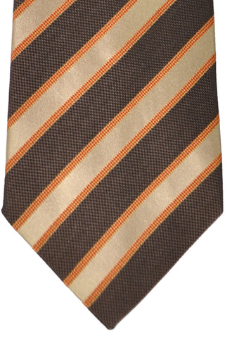 Burberry Tie Chocolate Taupe Orange Stripes - Wide Necktie