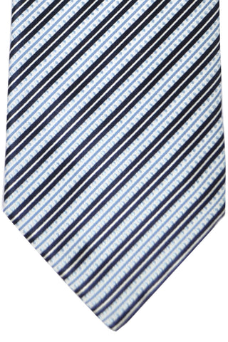 Burberry Tie Black Sky Blue Silver Stripes - Wide Necktie SALE