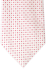 Burberry Tie White Silver Red Squares - Wide Necktie