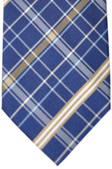 Burberry Tie Navy Brown Cream Stripes - Wide Necktie