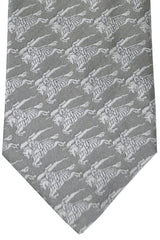 Burberry Tie Gray Logo - Wide Necktie