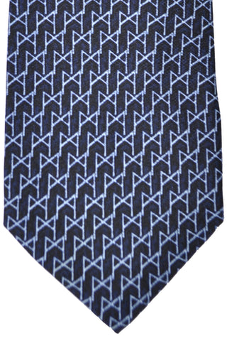 Burberry Tie Navy Sky Blue Geometric - Wide Necktie