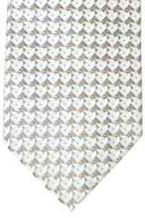 Burberry Tie Silver Gray Taupe Geometric - Wide Necktie