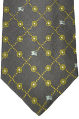 Burberry Tie Gray Lime Silver Geometric - Wide Necktie