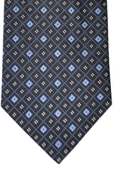 Burberry Tie Navy Blue Silver Geometric - Wide Necktie