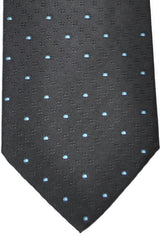 Burberry Tie Black Sky Blue Dots - Wide Necktie