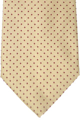 Burberry Tie Taupe Cream Fuchsia Dots - Wide Necktie
