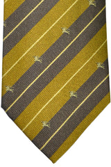 Burberry Tie Gray Olive Stripes - Wide Necktie