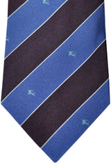 Burberry Tie Blue Purple Stripes - Wide Necktie