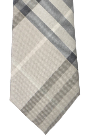 Burberry Tie Gray Taupe Check - Modern Cut