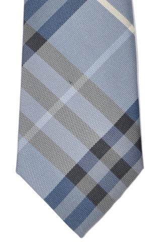 Burberry Tie Dusty Opal Blue Manston Check - Modern Cut