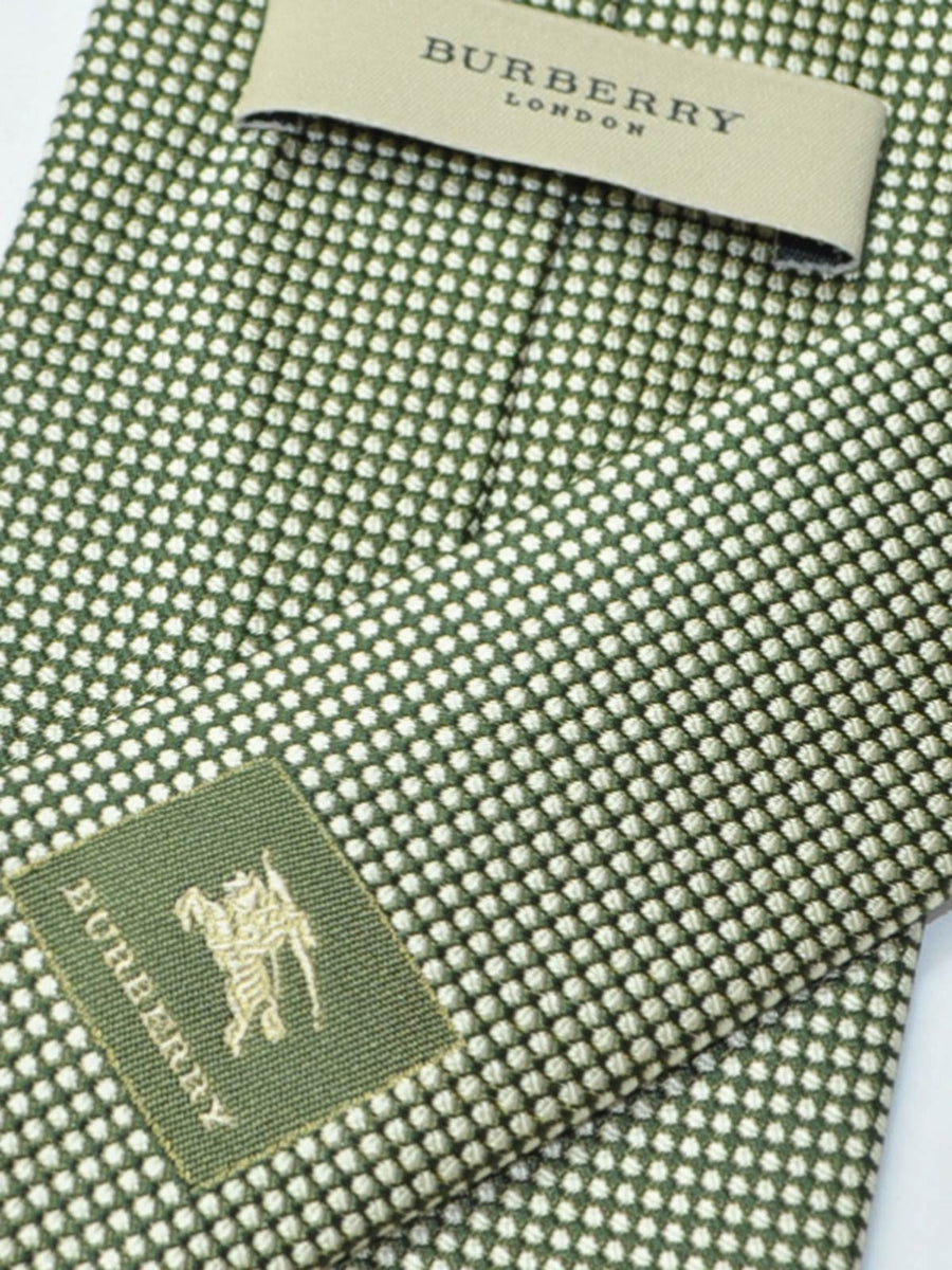 Burberry Tie Green Silver Dots