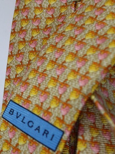 Bvlgari Sevenfold Tie Oatmeal Yellow Pink Fruit Novelty FINAL SALE