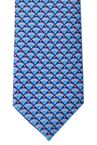 Bvlgari Sevenfold Tie Blue Gray Guiko SALE