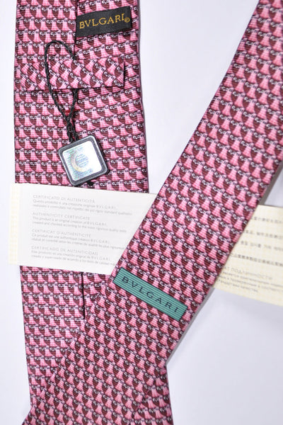 Bvlgari Sevenfold Tie Purple Pink Ghost Novelty Tie 2015 Collection