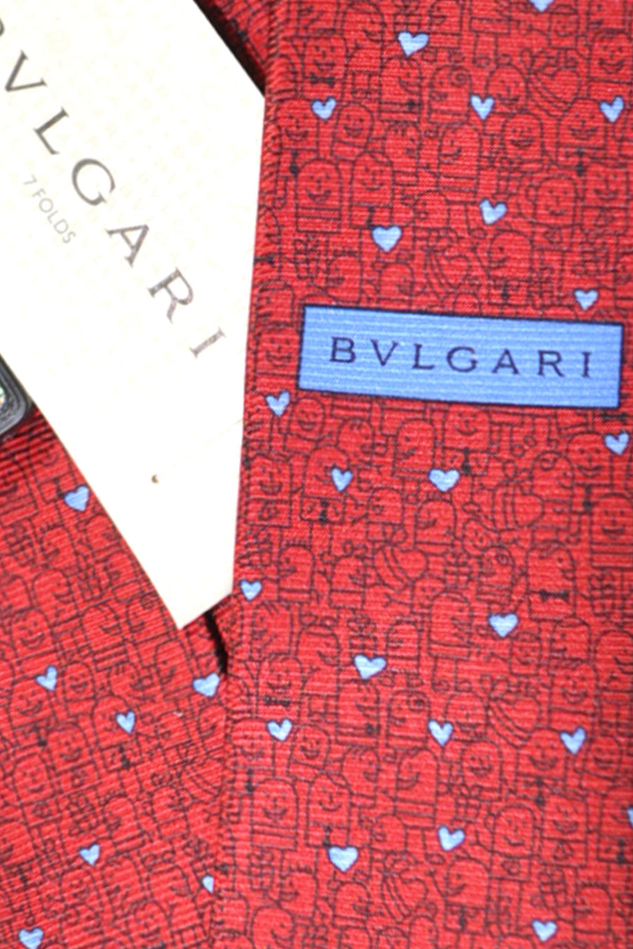 Bvlgari Sevenfold Tie Red Blue Heart Novelty Tie