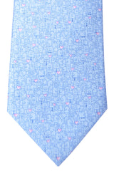 Bvlgari Sevenfold Tie Sky Blue Pink Heart Novelty Tie 2015 Collection