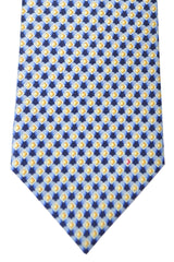Bvlgari Sevenfold Tie Navy Blue Gold Geometric Novelty Tie 2015 Collection