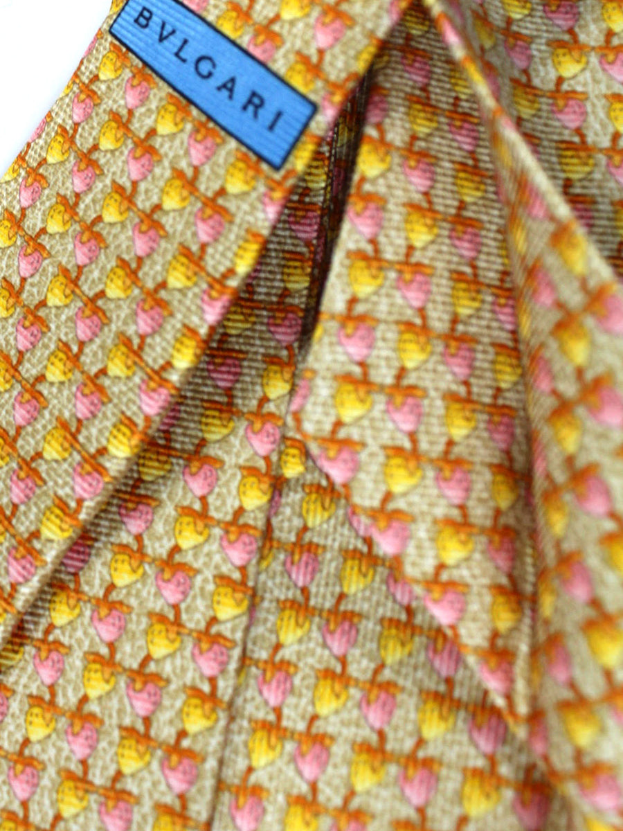 Bvlgari Sevenfold Tie Oatmeal Yellow Pink Fruit Novelty Design