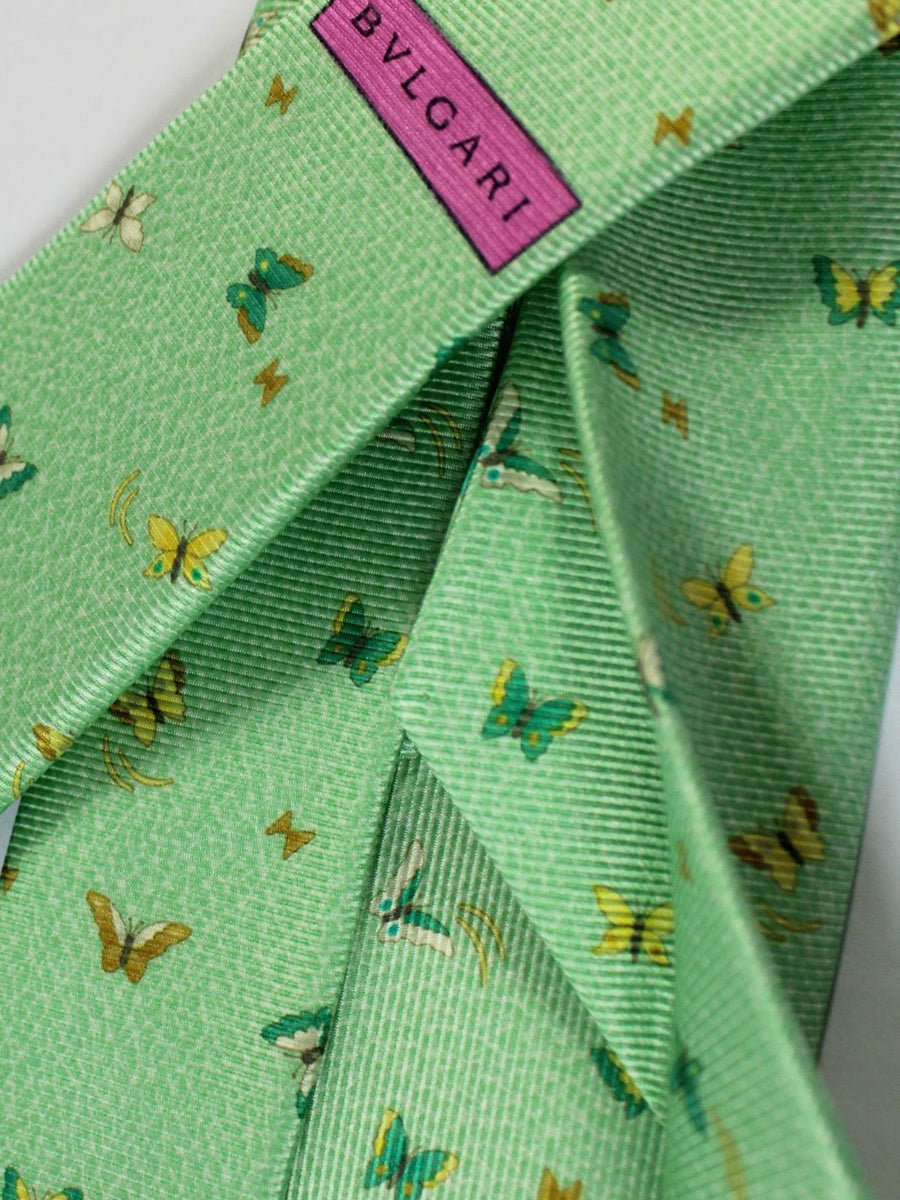 Bvlgari Sevenfold Tie Mint Green Butterfly Novelty Design