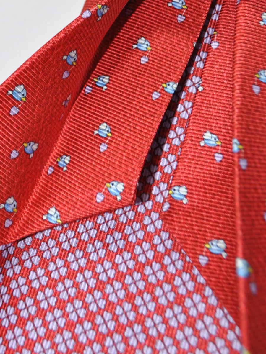 Bvlgari Sevenfold Tie Red Bird Novelty Design SALE