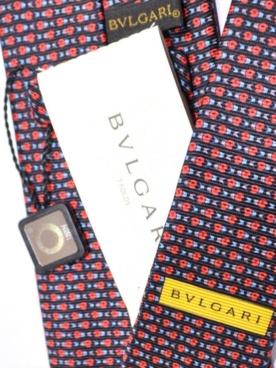 Bvlgari Sevenfold Tie Black Red Fish Design SALE