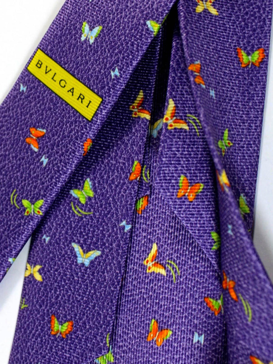 Bvlgari Sevenfold Tie Purple Butterfly Novelty SALE