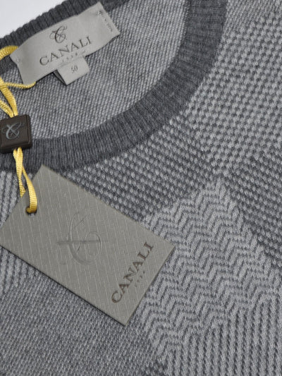 Canali Wool Sweater Gray Patchwork EUR 50 / US 40 SALE
