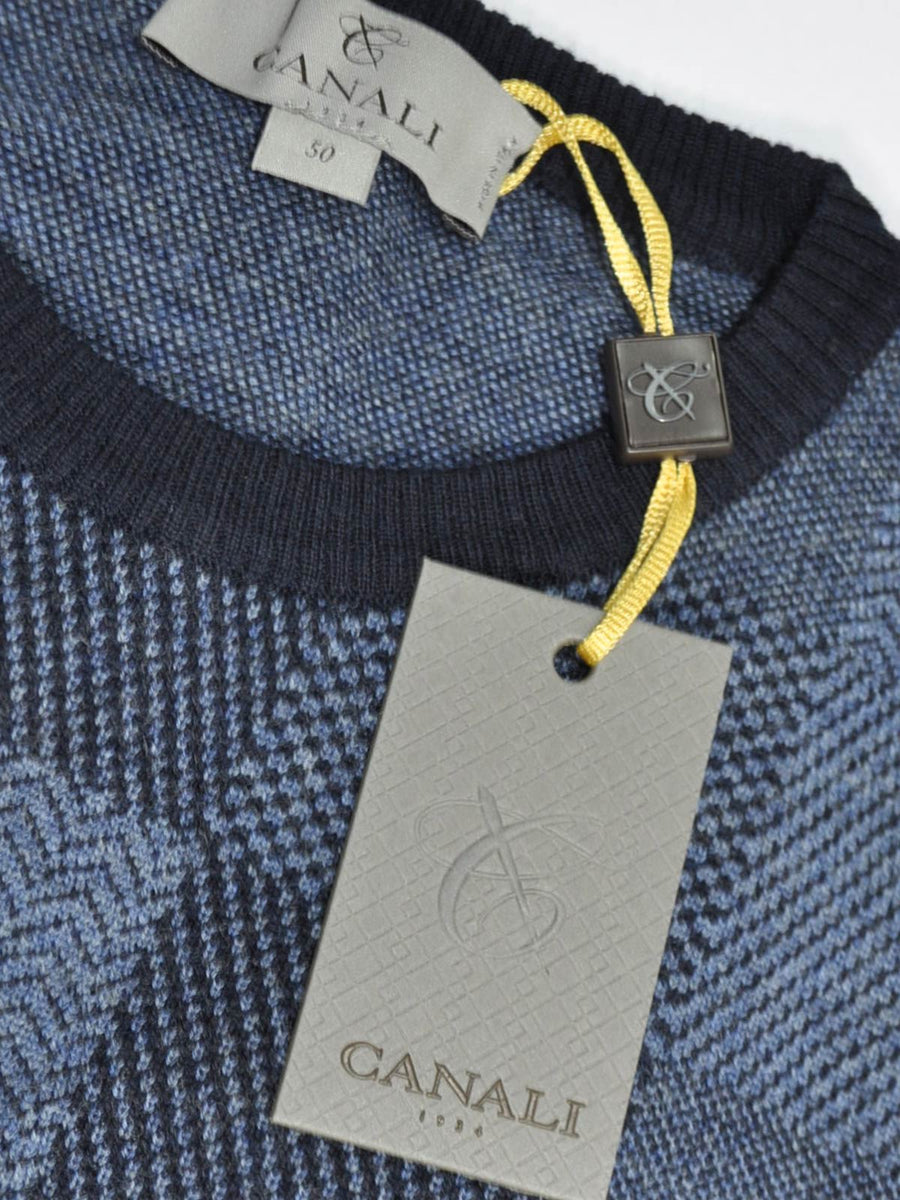 Canali Wool Sweater Dark Blue Patchwork